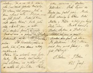 Dopis Josefa Ptáka z 16. ledna 1914.  Foto sbírka VHÚ.