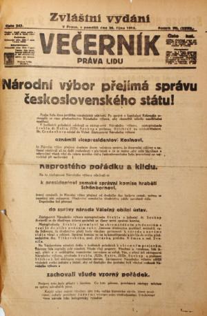 28. říjen 1918 byl bohatý na zvláštní vydání denního tisku. Foto sbírka VHÚ.