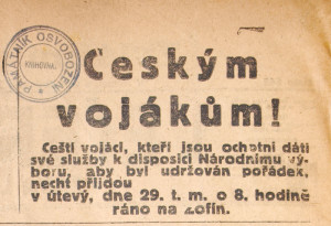 Na druhé straně téhož listu vyšla výzva adresovaná českým vojákům-dobrovolníkům, aby se do služby hlásili na Žofíně.  Foto sbírka VHÚ.