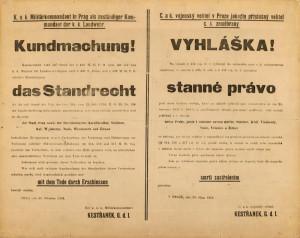 Vyhláška o stanném právu nad Prahou a okolím nikdy neopustila tiskárnu Kestřankova Vojenského velitelství, dochovala se pouze v podobě kartáčového otisku. Foto sbírka VHÚ.