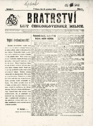 Titulní list prvního čísla časopisu Bratrství. Foto sbírka VHÚ.