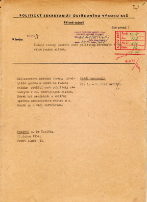 Návrh na zrušení klasifikace E a výjimečných vojenských cvičení. FOTO: Národní archiv, Praha