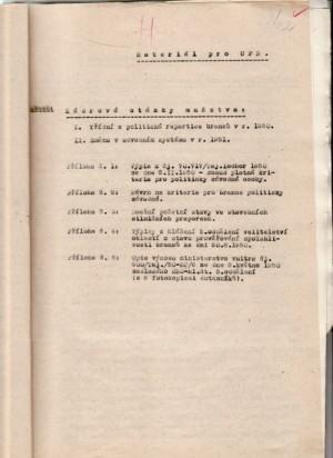 Materiál o kádrových otázkách předložený Užšímu poradnímu sboru gen. J. Procházkou. FOTO: VÚA–VHA