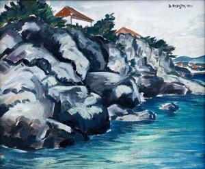 Kubištův obraz Krajina u moře (1913)