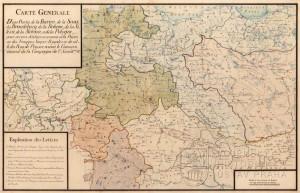 Generální mapa s pozicemi vojsk před vypuknutím války.