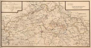 Mapa Čech s dislokací vojsk z května 1788.