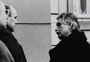Vlevo premiér Marián Čalfa, vpravo ministr zahraničí Jiří Dienstbier. Foto Andrej Halada.