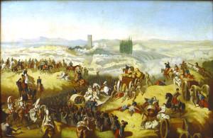 Výjev z bitvy u Solferina. Uprostřed obrázku je vidět ošetřování zraněného vojáka.