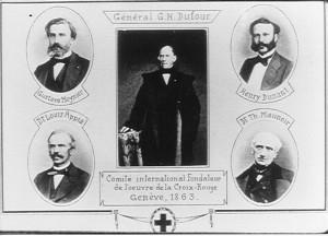 Členové výboru pěti: Gustave Moynier, Guillaume Henri Dufour, Henry Dunant, Louis Appia a Theodore Maunoir.