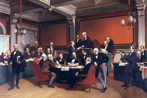 Podepsání první Ženevské úmluvy z 22. srpna 1864