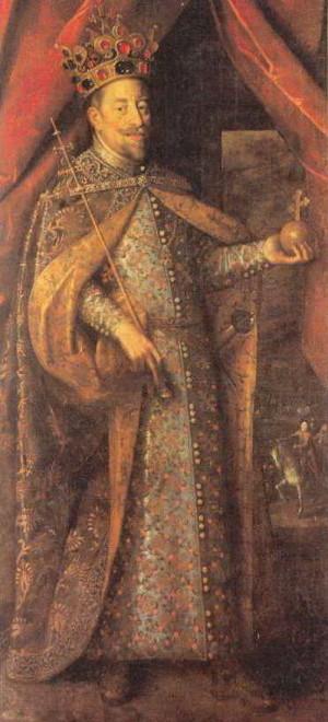 Matyáš jako korunovaný český král.
