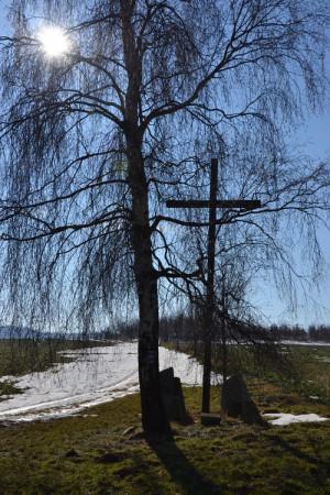 Dřevěný kříž připomínal vojáky padlé u Jankova