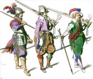Vojáci z roku 1608, zleva doprava pikenýr, dragoun a mušketýr.