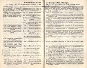 Seznam důstojníků pluku dekorovaných vojenskými řády za tažení let 1848-1849.