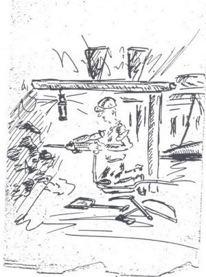 Rubání uhlí doslova na kolenou. Kresba pétépáka.  FOTO: archiv autora