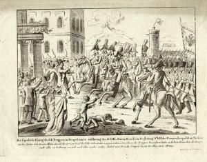 Dobová rytina zobrazující vstup Rakušanů do Neapole
