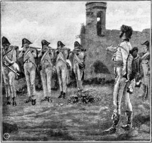 Zobrazení posledních chvil bývalého neapolského krále Joachima I. Murata