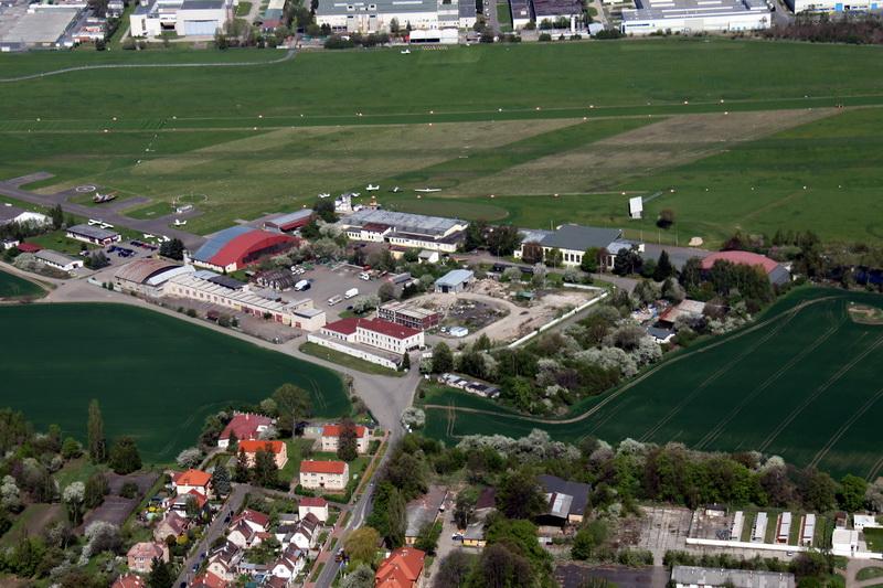 Letecký pohled na areál Staré Aerovky