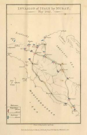 Mapka zobrazující tažení během neapolské války roku 1815