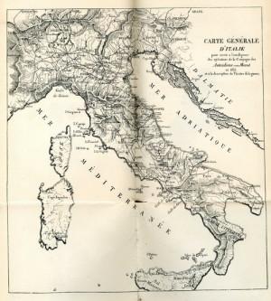 Mapka zobrazující hlavní komunikace na Apeninském poloostrově