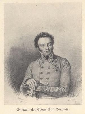 Brněnský rodák generálmajor Evžen hrabě Haugwitz velel roku 1815 brigádě v Neippergově sboru