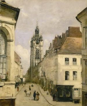 Severofrancouzské město Douai, kde se M. Pellé narodil. Reprodukce obrazu z r. 1871