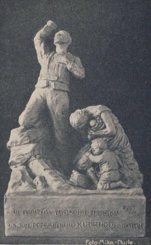 První návrh Kudrnova pomníku z dvacátých let 20. století