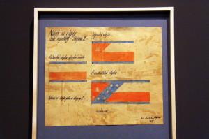 Z výstavy Doteky státnosti - návrhy státní vlajky