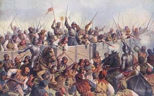Obrozenecká představa bitvy u Lipan na obraze J. Mathausera