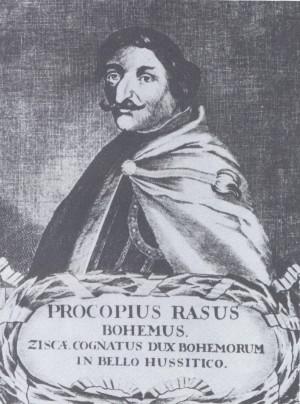 Mědiryt portrétu Prokopa Holého ze 17. století