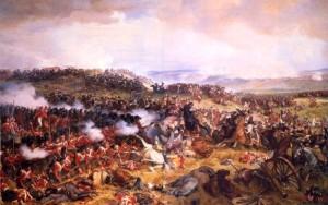 Britská karé čelí u Waterloo útoku francouzských kyrysníků na obraze z druhé poloviny 19. století