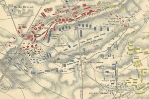 Plánek bitvy u Waterloo, stav po příchodu Prusů