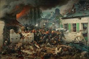 Prusové dobývají ves Plancenoit, čímž ohrožují Napoleonův týl na obraze Adolfa Northerna z roku 1864