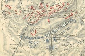 Plánek bitvy u Waterloo v počáteční fázi