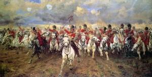 Slavný útok pluku Scots Greys v rámci britského jezdeckého protiútoku na obraze z druhé poloviny 19. století.