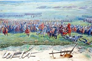 Maršál Ney vede útok jezdectva na vyobrazení z panoramatu bitvy u Waterloo od Louise Dumoulina z roku 1912
