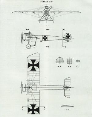 Výkresy Fokkeru E.III