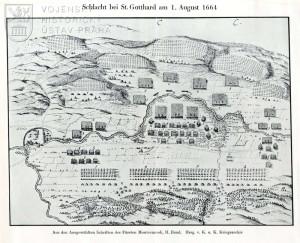 Faksimile originálního náčrtu počátečního rozestavění vojsk před bitvou.