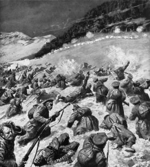 Útok Rusů na vrch Kaštielik ze 4. února 1915 v typickém sugestivním výtvarném podání vídeňských obrázkových žurnálů. Tehdy hojně používané ruské taktice, při níž ke zteči vybíhaly vlna za vlnou řetězy pěchoty, se mezi německými důstojníky začalo říkat Karpathentaktik.