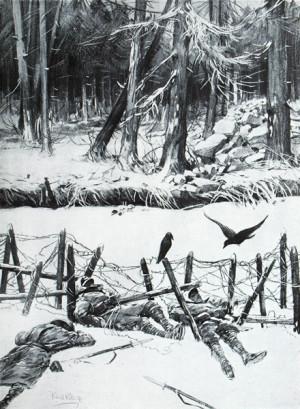 Děsivé karpatské zátiší. Intenzívní bojové operace, které se v období od ledna do dubna 1915 přenesly do nehostinného prostředí Karpat, si na straně rakousko-uherského vojska vyžádaly ztráty ve výši téměř 53 000 padlých a zemřelých vojáků. Počty raněných, zajatých a nezvěstných vystoupaly k 326 000 mužů. Odhady pro ruskou armádu uvádějí souhrnné ztráty okolo 250 000.
