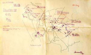 """Situační plán rakousko-uherského předmostí na řece Sanu u Sieniawy dokumentuje rozmístění mladoboleslavského pěšího pluku č. 36 dva dny předtím, než se jeho úsekem v noci z 26. na 27. května 1915 prohnal ruský útok. Snadný průnik nepřítele do obrany způsobil, že 10. pěší divize musela vyklidit celé předmostí, přičemž ztratila 7 800 mužů, část dělostřelectva a 12 kulometů. Pluk byl za trest rozpuštěn, když hlavní příčinu celého incidentu shledali nadřízení ve zradě většinově českého mužstva, které se bez náležitého odporu vzdalo útočícím jednotkám. Přestože byly okolnosti a důvody  bojového selhání """"Šestatřicátníků"""" u Sieniawy opět mnohem složitější, stigma """"zrady"""" se hodilo jak rakousko-uherským orgánům ke zdůvodnění protičeských opatření, tak československému odboji jako další důkaz neochoty českých vojáků bojovat pod praporem Rakouska-Uherska."""