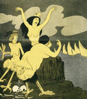 Dohodové sirény lákají svým zpěvem do záhuby další nešťastníky. Titulní kresba z vídeňského humoristického časopisu komentovala boj o spojence, jenž gradoval na jaře 1915. Ve snaze udržet Itálii mimo sféru Dohody Německo naléhalo na Rakousko-Uhersko, aby Itálii postoupilo část svého území. Na základě lepší nabídky, tajné Londýnské dohody z 26. dubna 1915, se Itálie zavázala vstoupit do boje po boku Dohody.