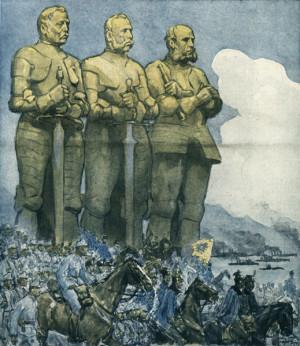 Tolik oblíbené odkazy na slavné rakouské vojenské tradice, které zazněly i v císařově manifestu, se dočkaly výtvarného zpracování na stránkách časopisů. Duchové maršála Radeckého, arcivévody Albrechta a admirála Tegetthoffa, legendárních vojevůdců z vítězných tažení proti Itálii z let 1848/1849 a 1866, měly provázet rakousko-uherská vojska.