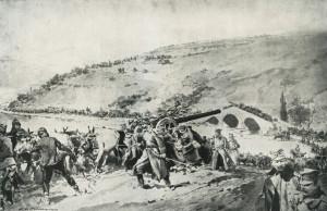 Reportážní obrázek srbského vojska při ústupu po těžko schůdných horských cestách. Prakticky celá země se ocitla na nuceném pochodu. Nejen vojáci ustupovali, ale také civilní obyvatelstvo i rakousko-uherští váleční zajatci. Odhaduje se, že mezi nimi bylo na 25 000 vojáků českého původu.