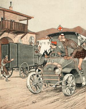 """""""Příliš pozdě, pánové, už zapáchal!"""" volají na přijíždějící ambulanci z pohřebního vozu, do nějž právě naložili srbského krále Petra I. V rakousko-uherském i německém tisku se nepovedená vojenská pomoc Dohody Srbsku stala vděčným námětem karikaturistů."""