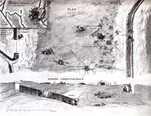 Názorné schéma k tématu podzemní minové války na západní frontě otiskl populární francouzský obrázkový týdeník L`Illustration.