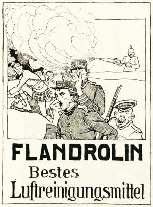 """Rakousko-uherský humoristický časopis reagoval na zprávy o použití smrtících plynů na flanderském bojišti rádoby vtipnou reklamou na """"nejlepší prostředek k čištění vzduchu""""."""