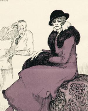 """""""Untauglich (neschopen)"""" – osvědčenými prostředky apelovala tato kresba na mužnost všech pánů, kteří z jakéhokoli důvodu nebyli přijati do vojska, nebo se zařazení vyhýbali. Na mužův dotaz, z jakých příčin jeho návrh ke sňatku odmítla, dáma odpovídá, že z týchž, jaké shledala vojenská třídící komise, když jej zprostila."""