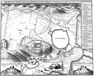 Plánek obléhání Brna z díla Theatrum Europaeum