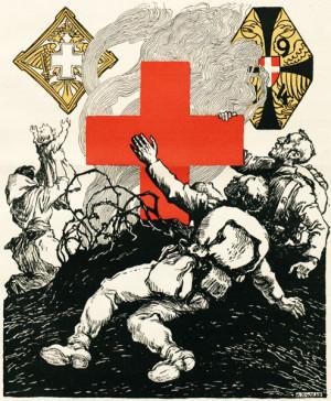"""Kresba """"Ve znamení kříže"""" propagovala trojici státem podporovaných humanitárních organizací působících v Předlitavsku ke zmírnění válečných útrap. Vedle známého Červeného kříže šlo o Černožlutý kříž, pečující o válečné invalidy v nouzi, a o Bílý kříž, jenž obstarával lázeňskou péči pro zraněné a nemocné příslušníky branné moci."""